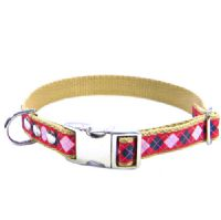DOG COLLAR - PINK AND NAVY ARGYLES ON RED